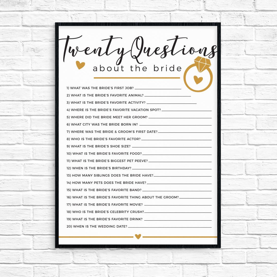 20 questions bridal shower game by roguedesignstudio on etsy httpswww