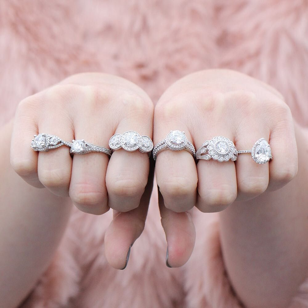 Left To Right: Aurora Engagement Ring, Bella Engagement