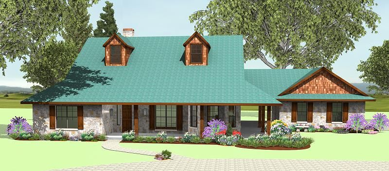 house plans by korel home designs live the covered breezeway - Texas House Plans With Breezeway