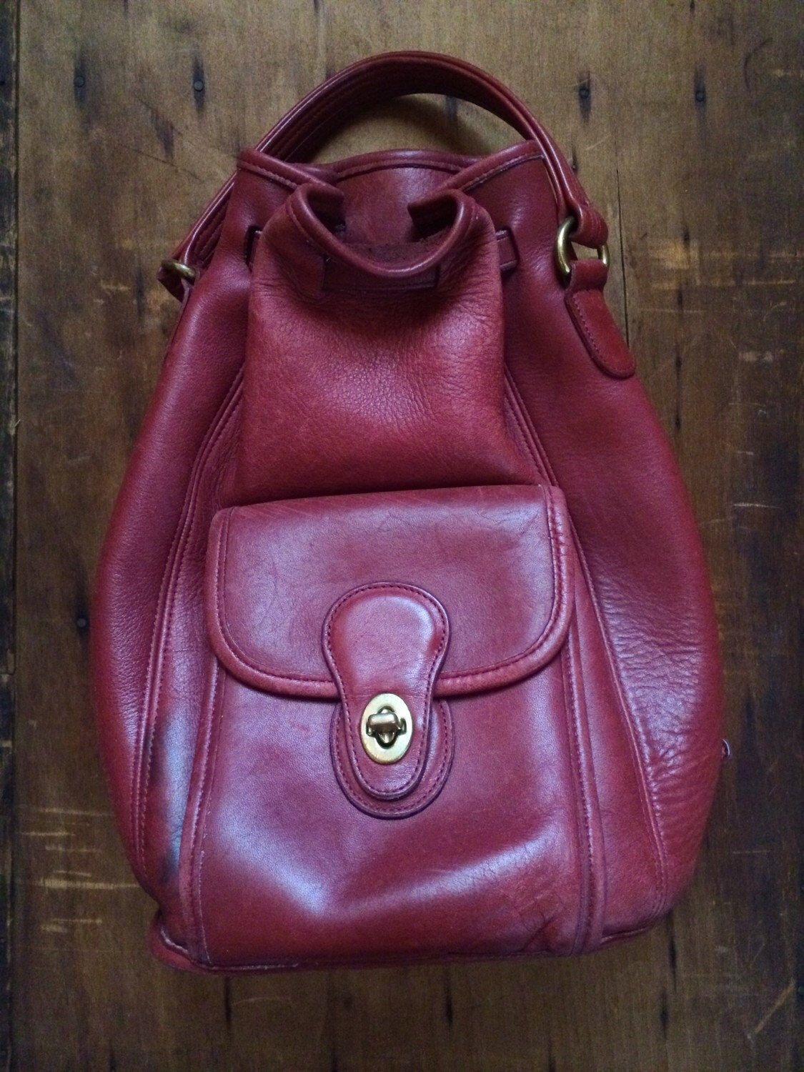 5cbe1996bb Vintage Coach Drawstring Satchel  Bucket Bag  Red Leather Backpack Purse by  CampCreekVintage on Etsy