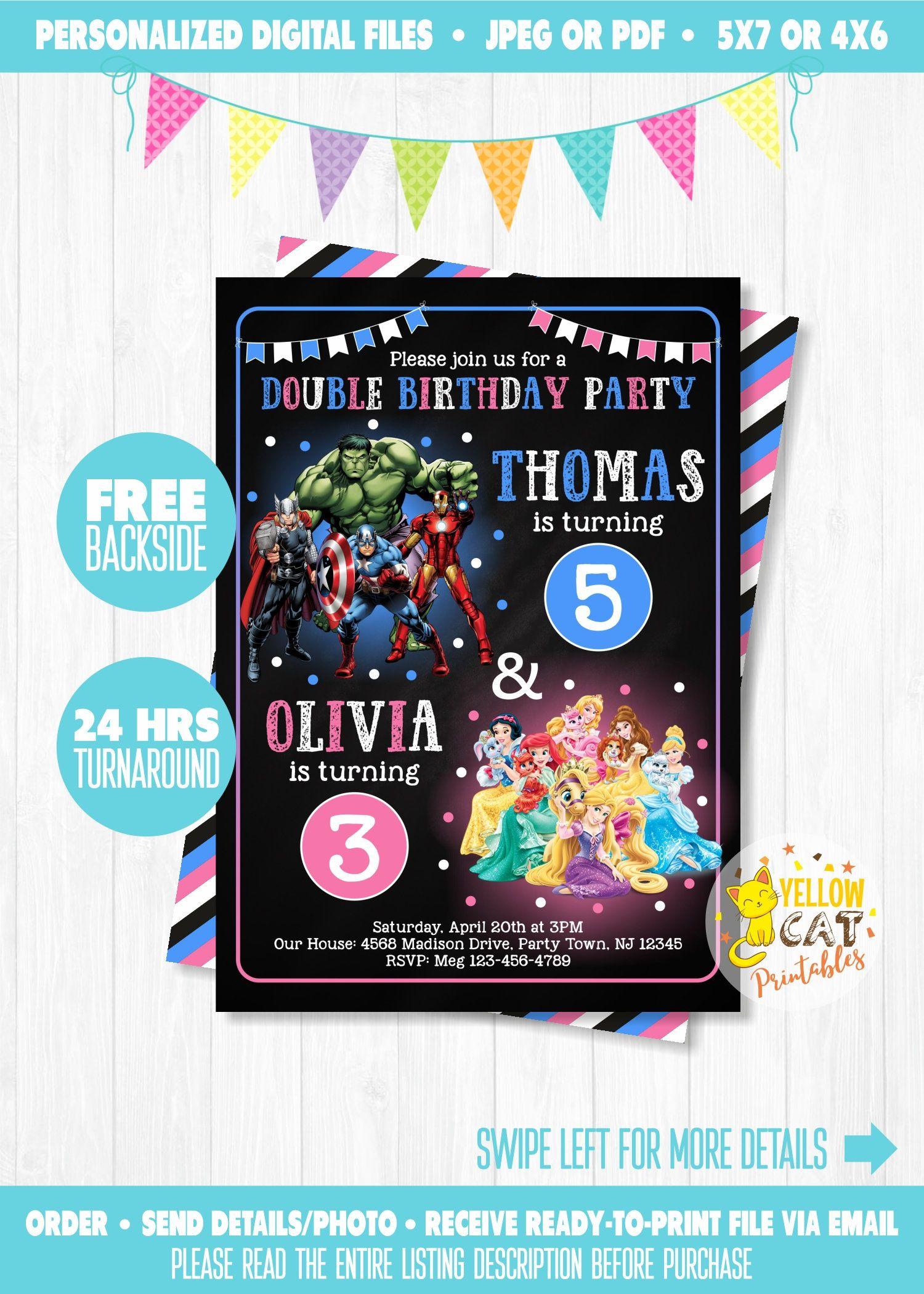 superhero  u0026 princess invitation  joint birthday invitation
