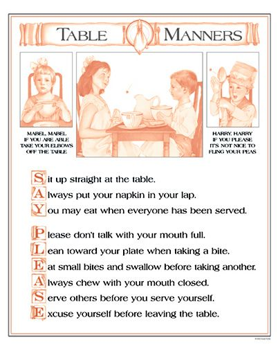 Proper eating etiquette polite manners 101 pinterest for Table etiquette