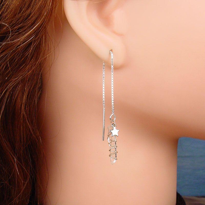 Threader Earrings Baby Quartz C Rystal