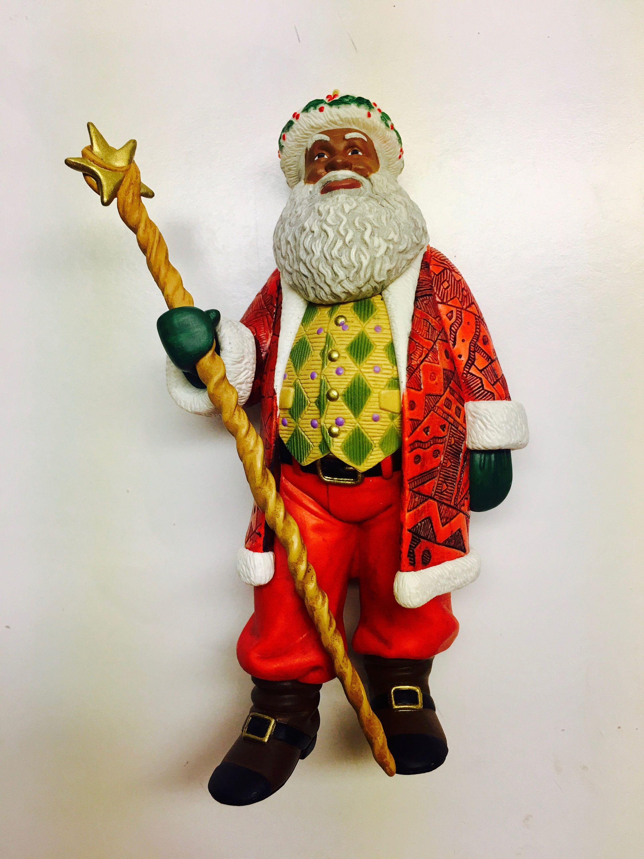 Vintage Hallmark 'Joyful Santa' Ornament African | Etsy