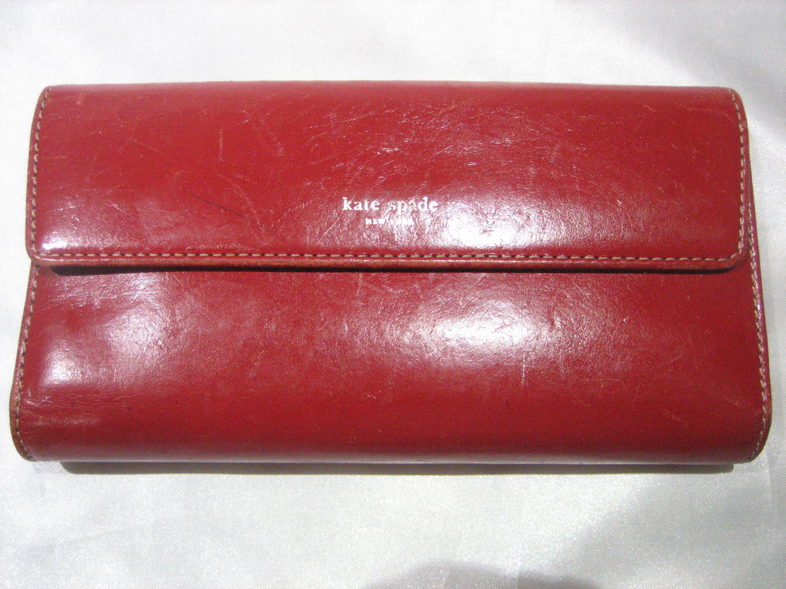 f1752d0680 Vintage Kate Spade Large Red Plum Trifold Wallet Made in Italy by CLASSYBAG  on Etsy