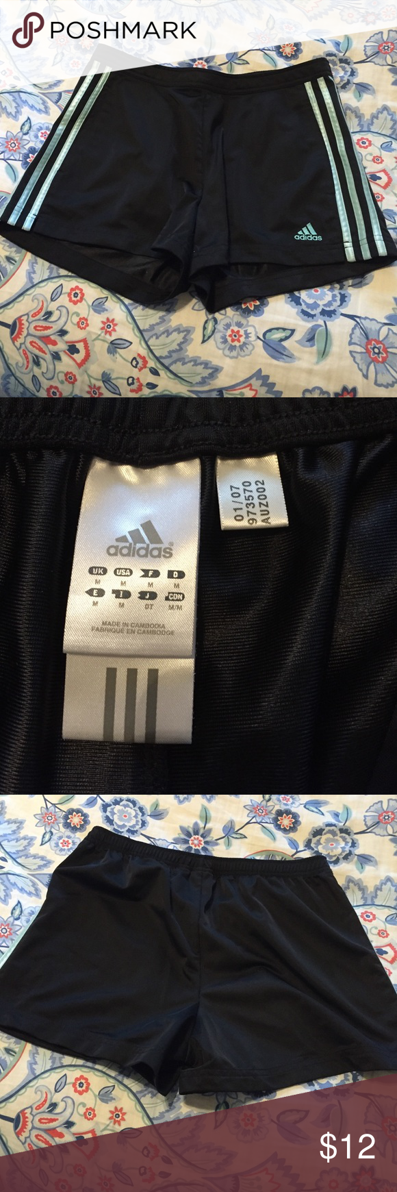 Adidas athletic shorts Adorable shorts. Black with pale blue stripes. adidas Shorts