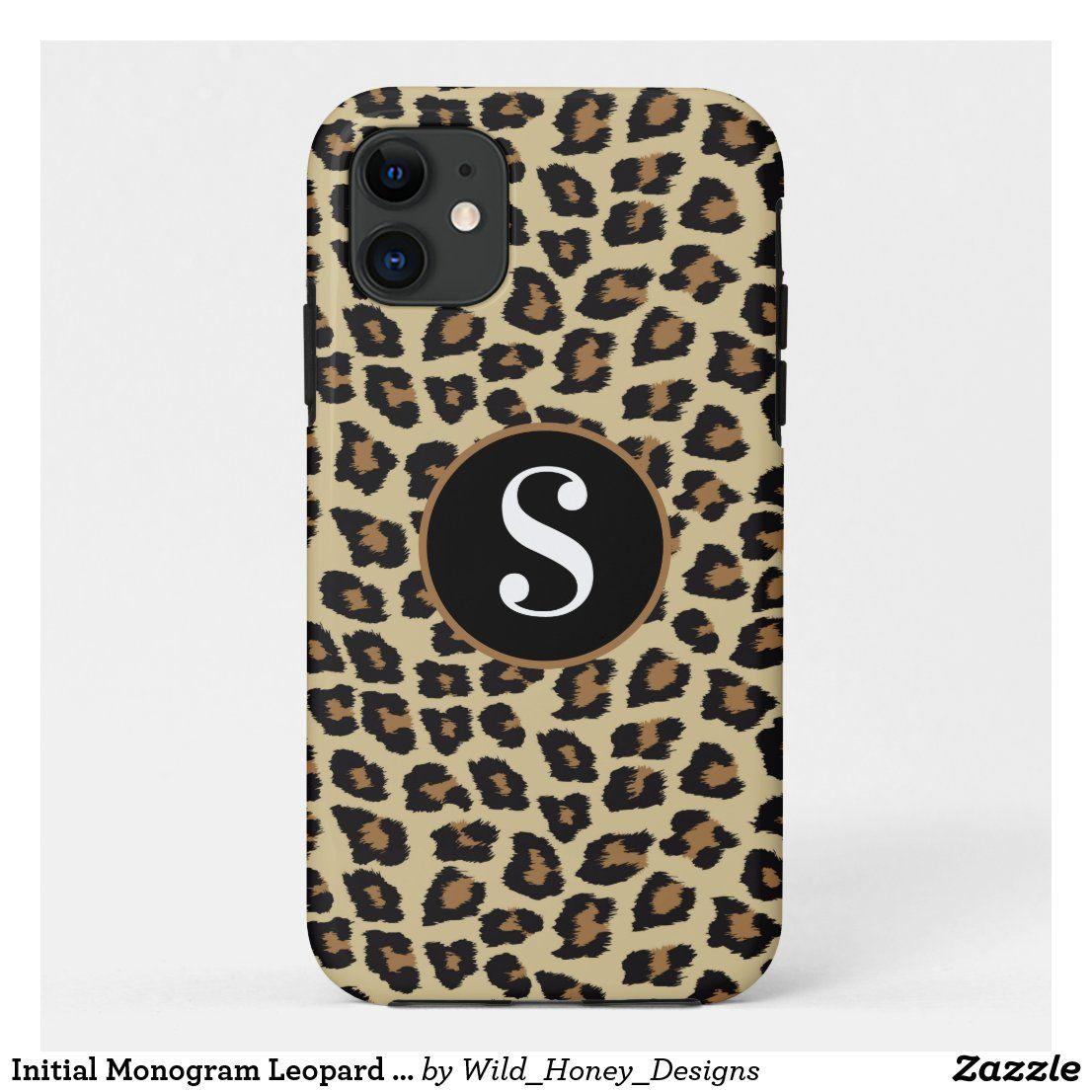 Initial Monogram Leopard Print Animal Print Case-Mate iPhone Case