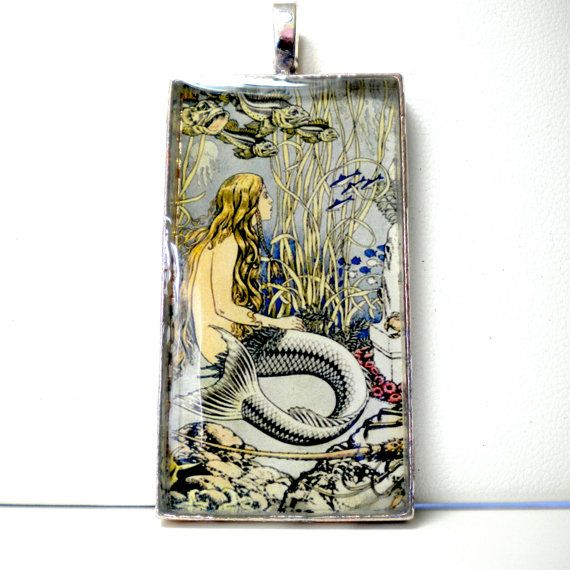 Mermaid Art Pendant Glass Photo Pendant by SurfSeaGlass