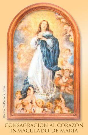 Consagración Al Corazón Inmaculado De María Imagen Religiosa Católica Tarjeta De La Inmaculada Inmaculada Concepcion Inmaculada Imagenes Religiosas Catolicas