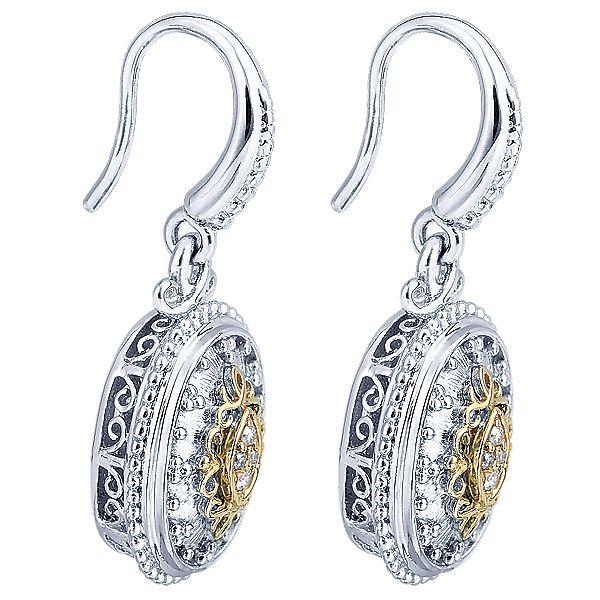 Gabriel - 925 Silver/18k Yellow Gold Roman Drop Earrings 325  EG11080MY5JJ