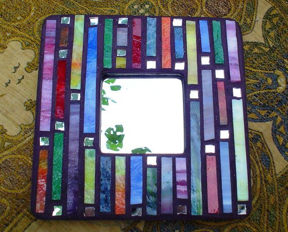 Rainbow Stained Glass Mosaic Mirror or Picture Frame