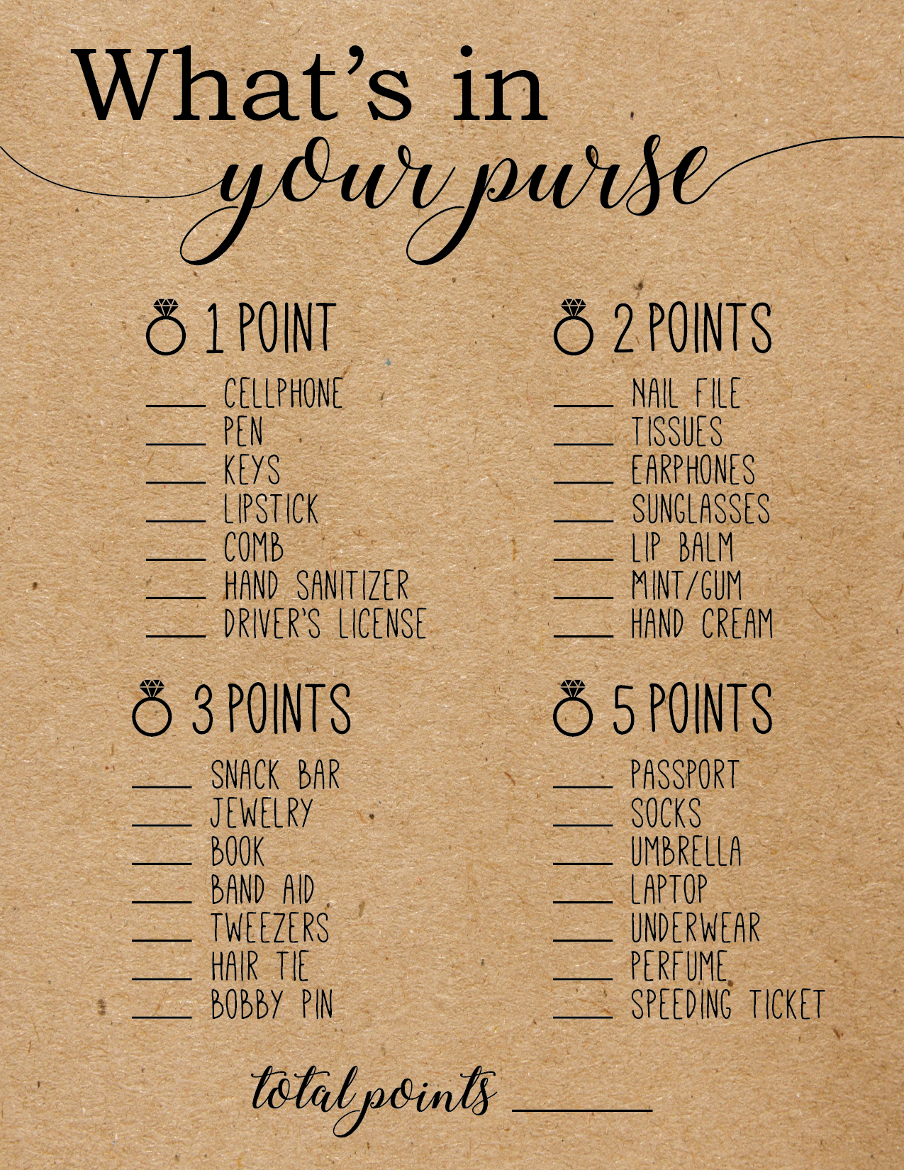 Astounding image with what's in your purse game printable