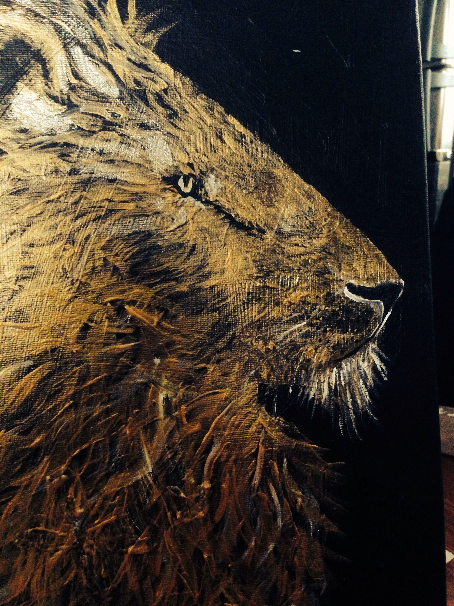 Gold lion painting