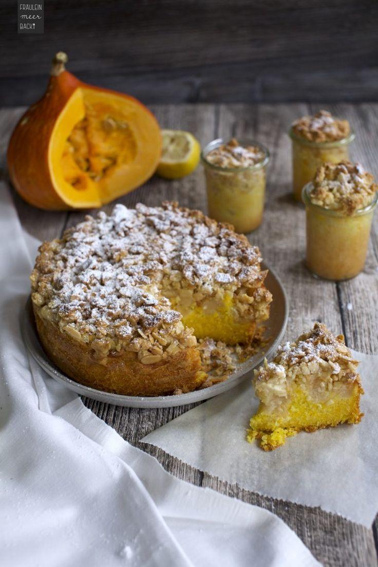 Kürbis-Apfel-Kuchen mit Mandelkruste - Fräulein Meer backt #kuchenkekse