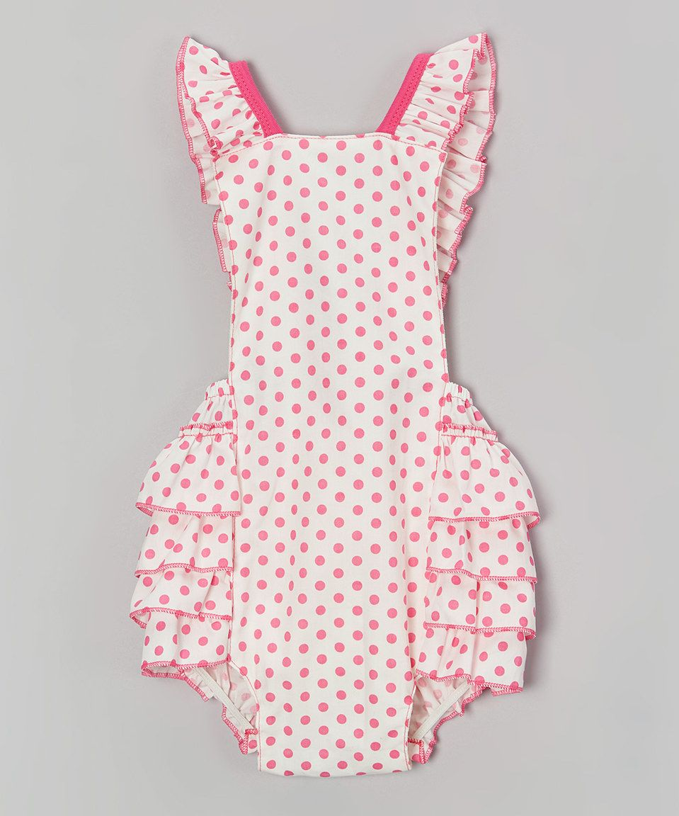 f64667e9ef54 Pink   White Polka Dot Bubble Romper - Infant by Baby Gem  zulilyfinds
