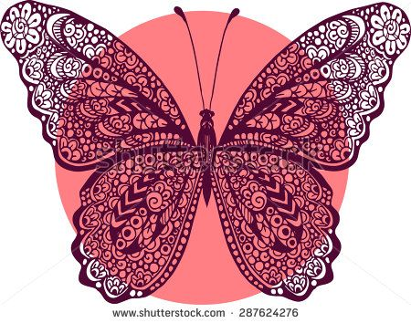 5adeebb811a9a Hand drawn vector zentangle butterfly illustration. Decorative abstract  doodle design element - stock vector