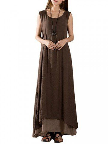 2a24cd3421 Vintage Women Sleeveless Two Layers Patchwork Solid Split Maxi Cotton Linen  Dress Shopping Online - NewChic