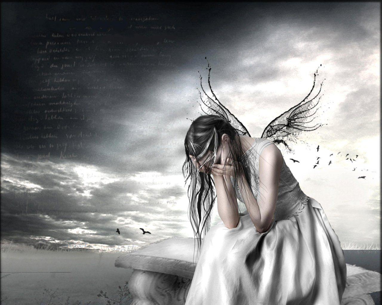 Crying goth art crying angel sad fairy sad angel - Sad angel wallpaper ...