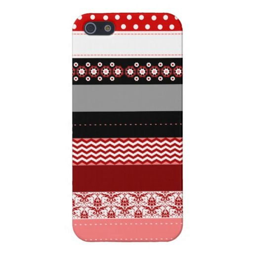 Trendy Red Pink Black & White Washi Tape Design Cover For iPhone 5
