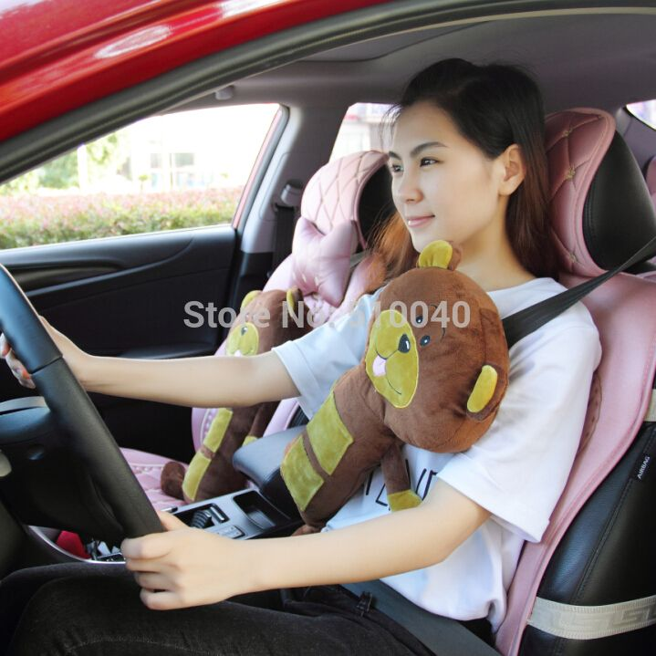 Free Shipping Plush Child Tan Dog Seat Pets And Seat Belt Pillow Cover For Christmas Birthday Gift Kemer