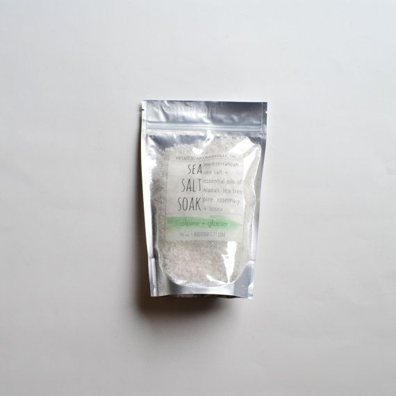 16 oz Alpine  Glacier Sea Salt Soak mediterranean sea by hellosoap