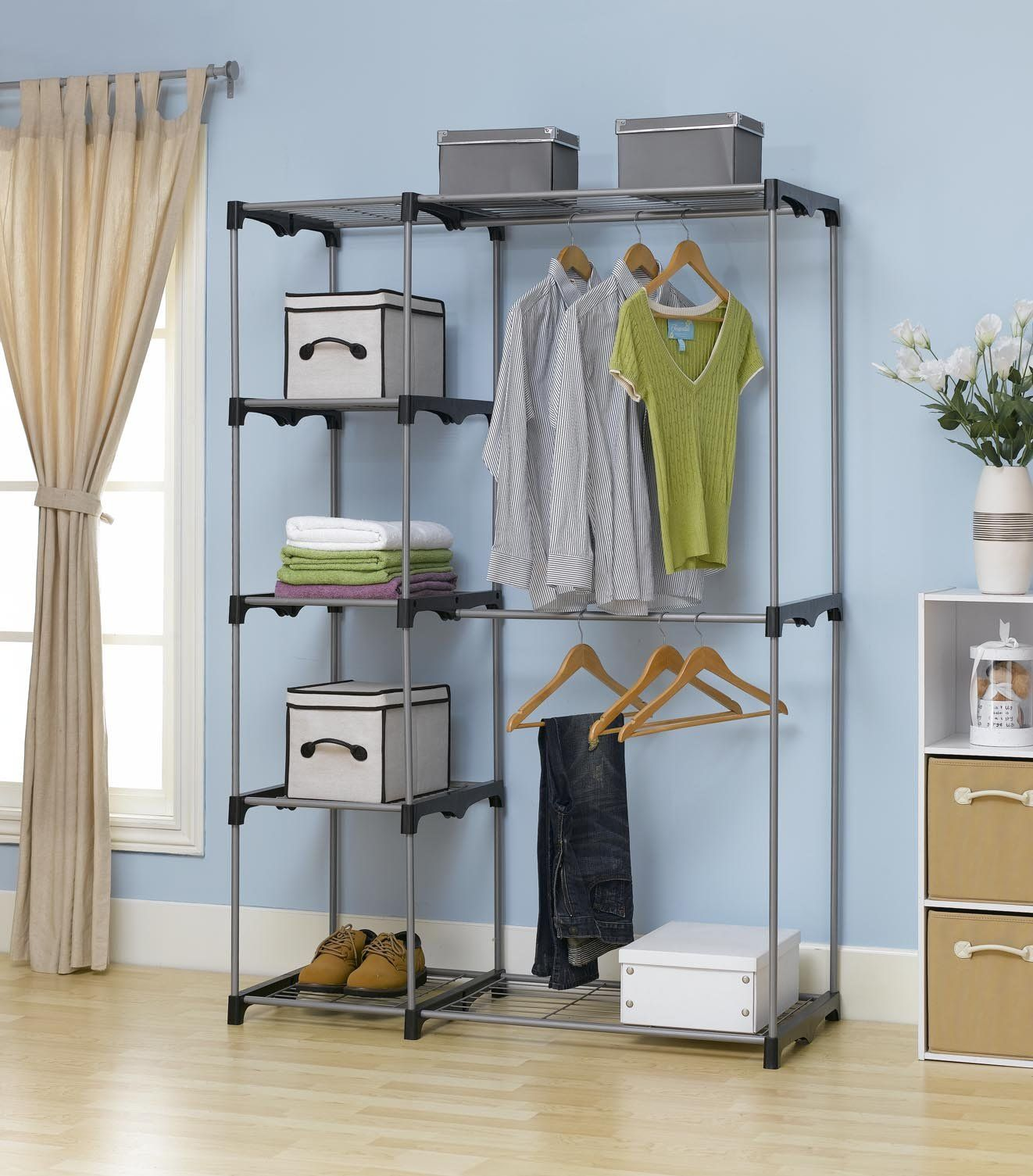 Closet Organizer Storage Rack Portable Clothes Hanger Home Garment Shelf Rod