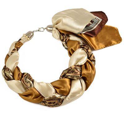 Šátek-náhrdelník Florina 299flo009-40.14 - hnědobéžový - Bijoux Me! 💍 Originální česká bižuterie a šperky. Eshop i kamenná prodejna v Praze ✓