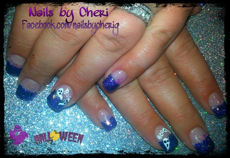 Halloween purple glitter acrylic tips by Cheri   Halloween ...