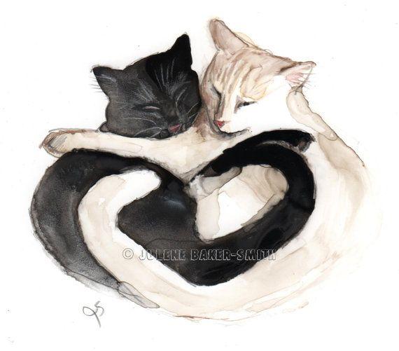 Black and White Cat Art  Valentine Cat Art  Cat by ArtByJulene