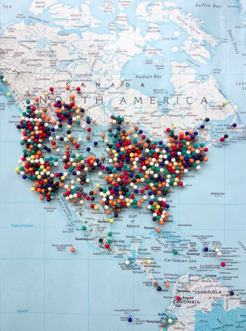 North america the open road pinterest wanderlust buckets and a great idea for some diy art track your destinations on a map covered pin board note the link doesnt really work gumiabroncs Images