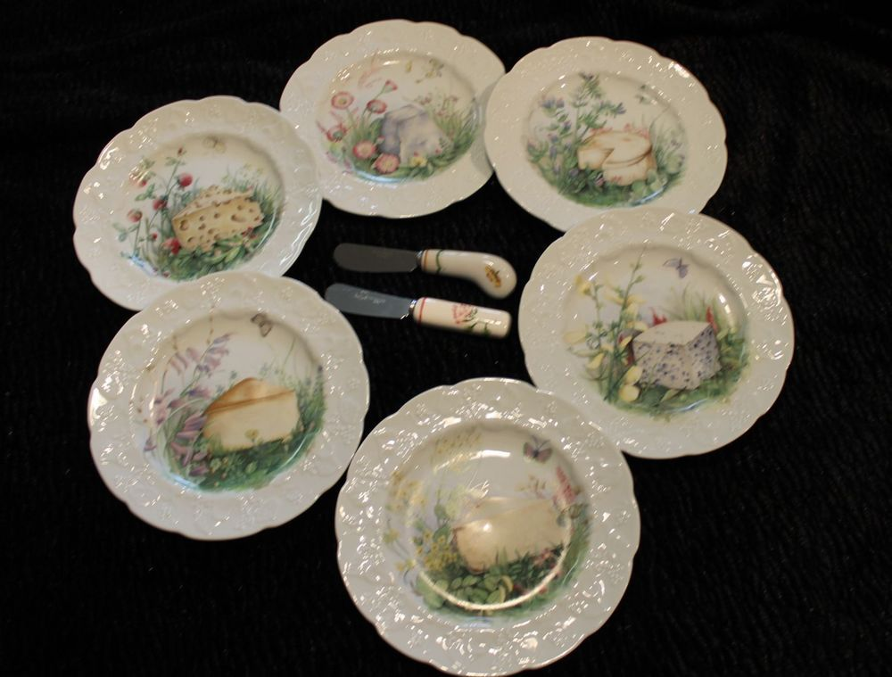 Lierre Lauvage CNP France 6 fromage cheese plates with 2 ...