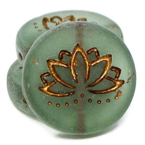 Czech Glass Lotus Flower Coin Beads Tourmaline Green Matte With