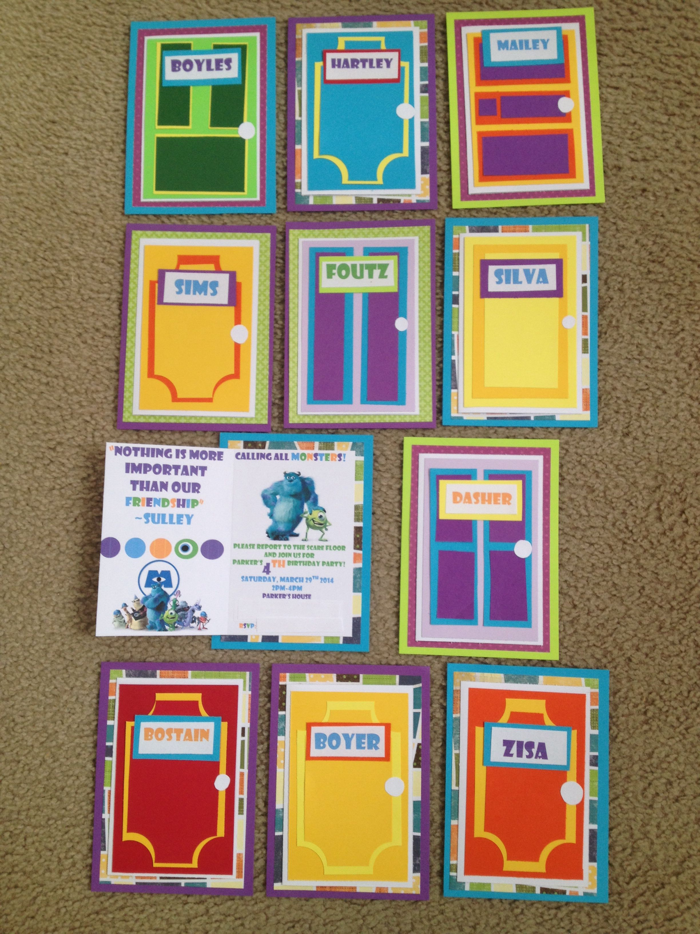 DIY Monsters Inc. Birthday Party Invitations the covers are doors ...