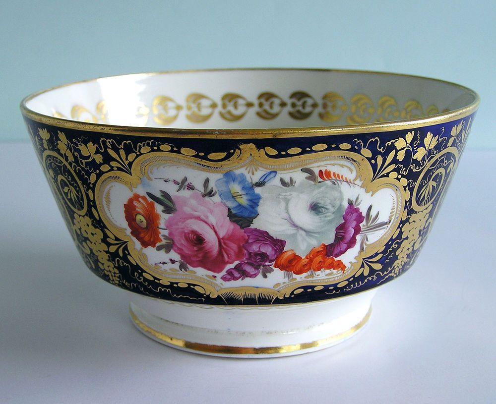 English Porcelain Blue Ground Gilded London Shape Bowl 3 Reserves Of Flowers Porcelain Blue Dinnerware Ebay China Dinnerware