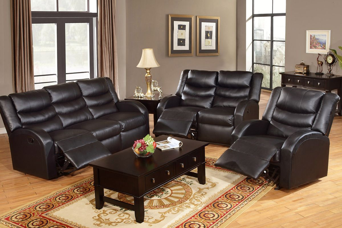 Black bonded leather reclining sofa and loveseat set