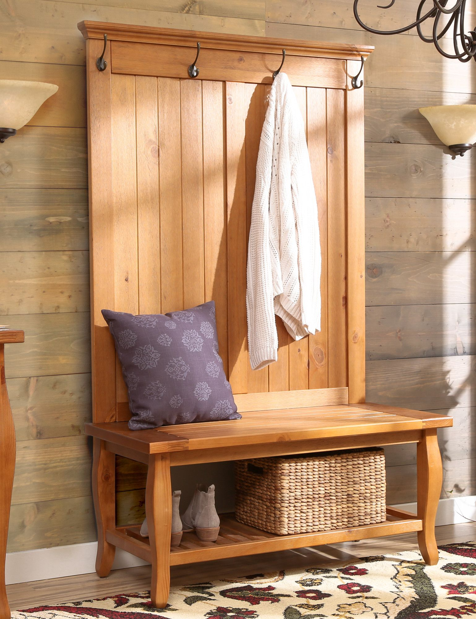 Finleyville Pine Solid Wood Hall Tree With Bench Furniture Hall Tree Hall Tree With Storage