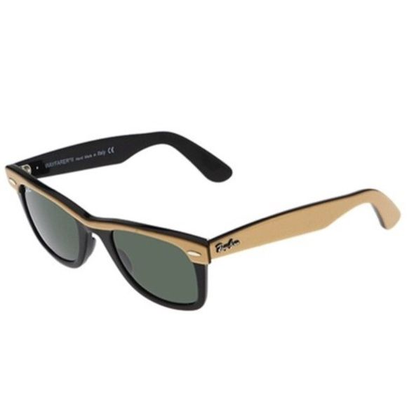 "RAY-BAN WAYFARER II SUNGLASSES AUTHENTIC RAY-BAN WAYFARER II  RB 2143 972 Frame color: top gold on black. Lens color: G-15XLT. Ray Ban signature at temples and on right lens. ""RB"" etched on left lens. Excellent condition. Case included. Ray-Ban Accessories Sunglasses"