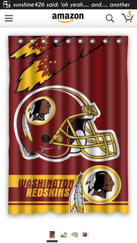 Another Cool Shower Curtain From Amazon Redskins Gear Football Fans