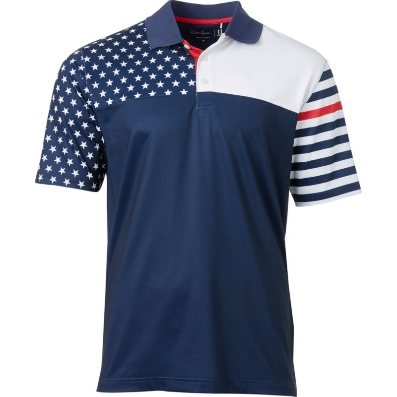 Walter Hagen Men\u0027s USA Flag Print Golf Polo