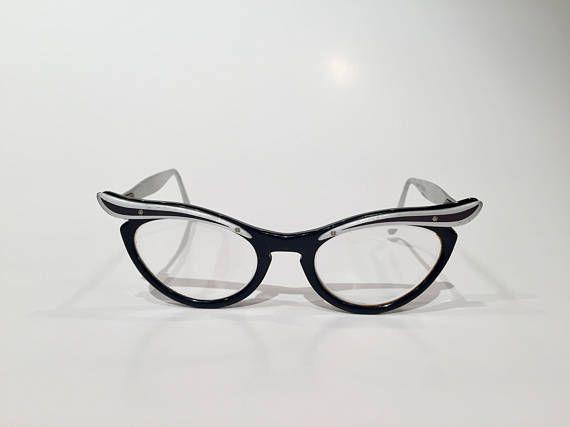 b08b37fce78 Black   Silver Aluminum 50s Cat Eye Glasses Vintage Black