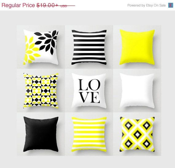 Sale Throw Pillow Black Yellow White Stripes Geometric Floral Home Decor Love Pillow Typography Throw Pillow Almofadas Criativas Travesseiros Fofos Almofadas