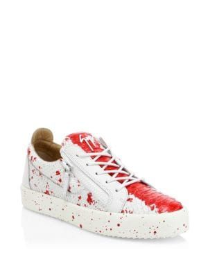 eaab956813878 GIUSEPPE ZANOTTI Low-Top Leather Splash Paint Sneakers. #giuseppezanotti # shoes