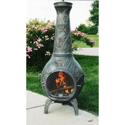 Butterfly Cast Metal Chiminea Best Prices Oakland Living Outdoor Wood Burning Fireplace Chiminea