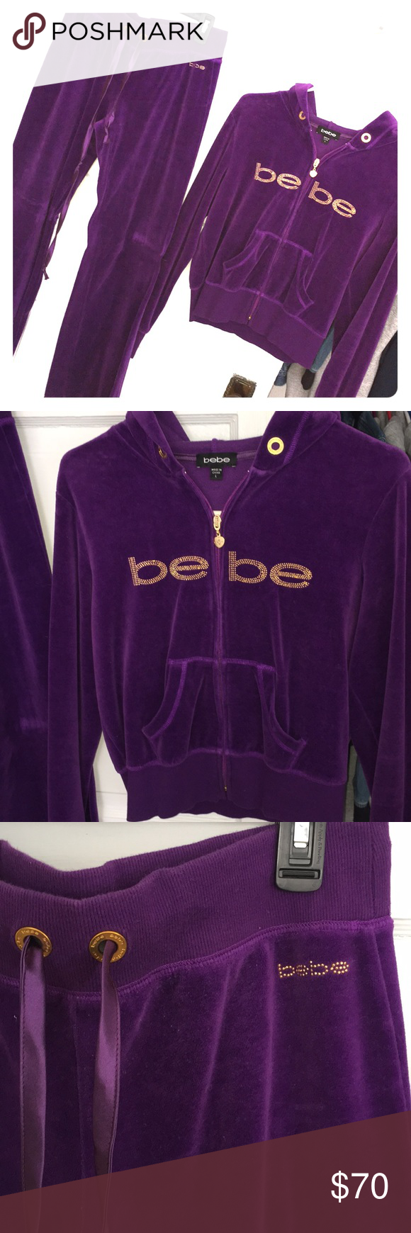 db1ed32d94a Bebe velour track suit Beautiful dark purple BEBE velour track suit. Very  gently worn maybe twice. Excellent condition. Size Large.