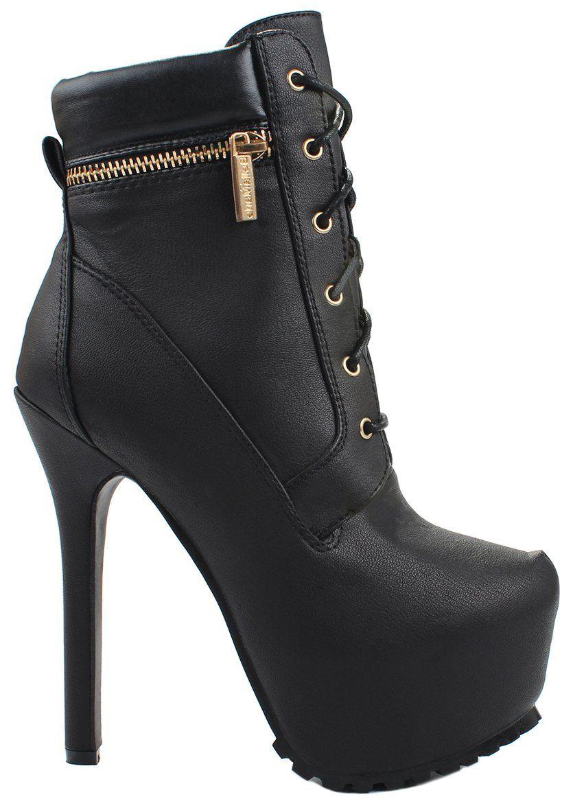 Britney11 Combat Military Golden Decor Zip Lace Up High Heel Platform Ankle Booties