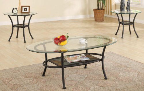 You Will Receive A Total Of 1 Coffee Table And 2 End Tables. Coffee Table:  X X End Table: Diameter X Finish: Black Material: Metal Glass Metal Coffee  Table ...