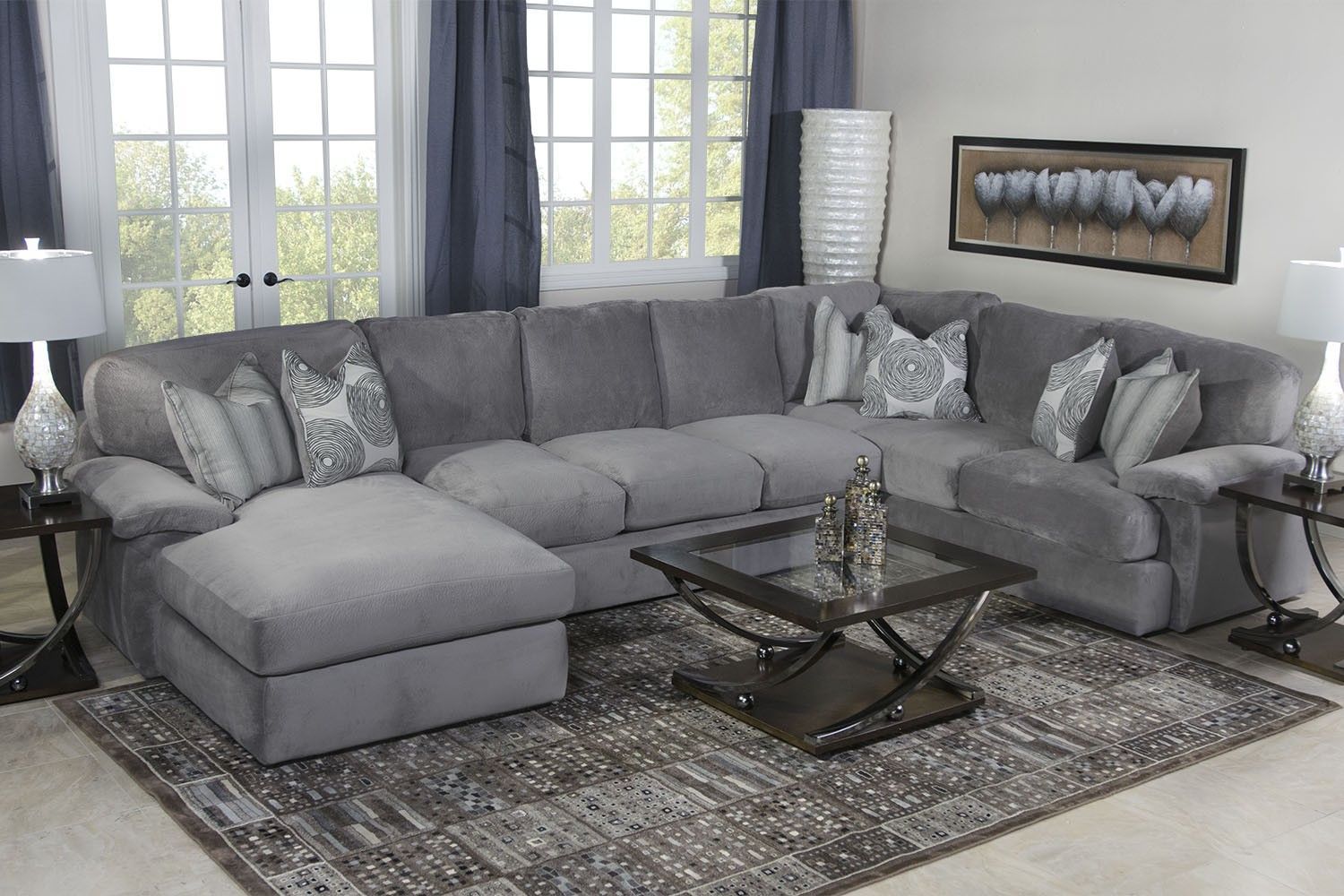 Key west sectional living room in gray living room mor for Living room designs with grey sofa