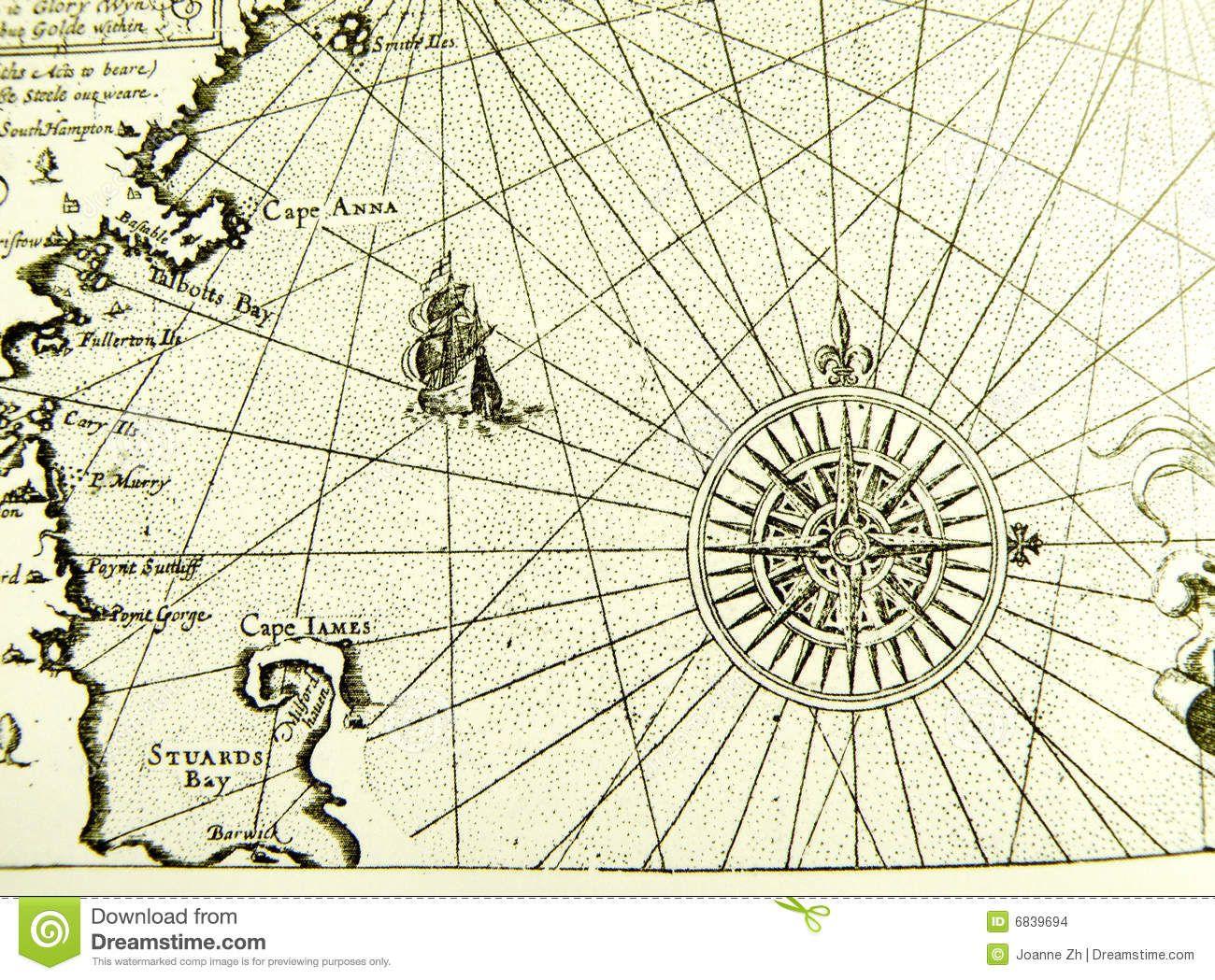 Antique Nautical Chart Maritime Pinterest Nautical Chart - Antiques us maps with compass
