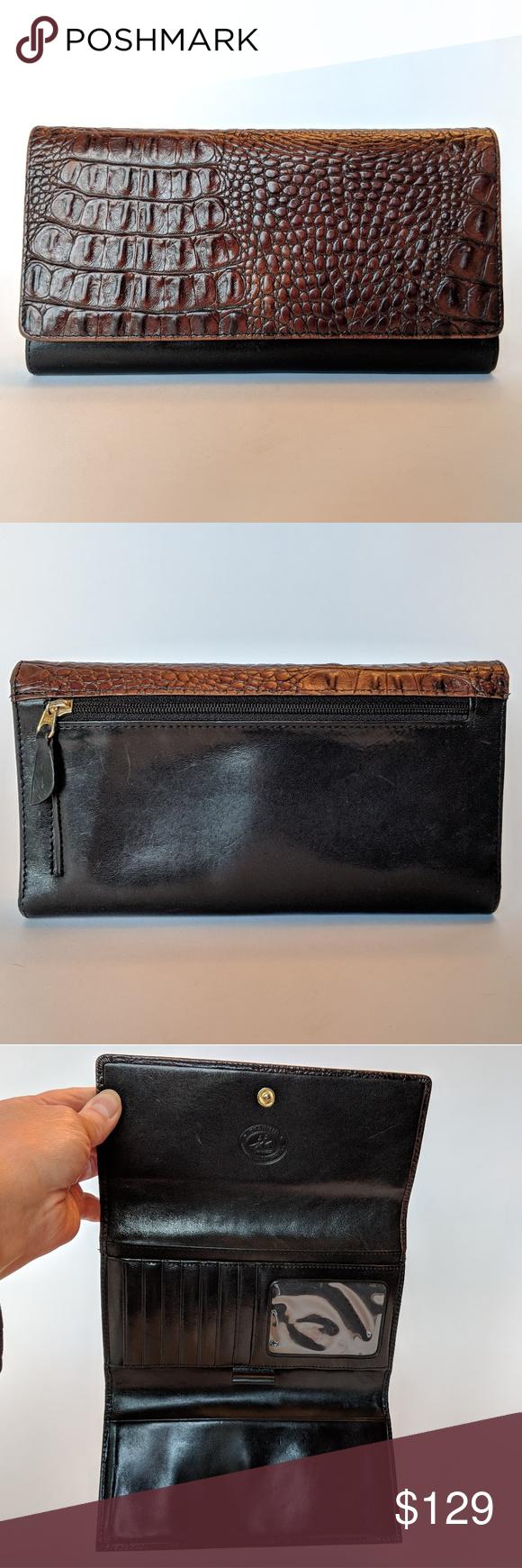 Vintage Brahmin Pecan Croc Embossed Wallet Euc Black Leather Wallet Leather Wallet Brahmin Bags