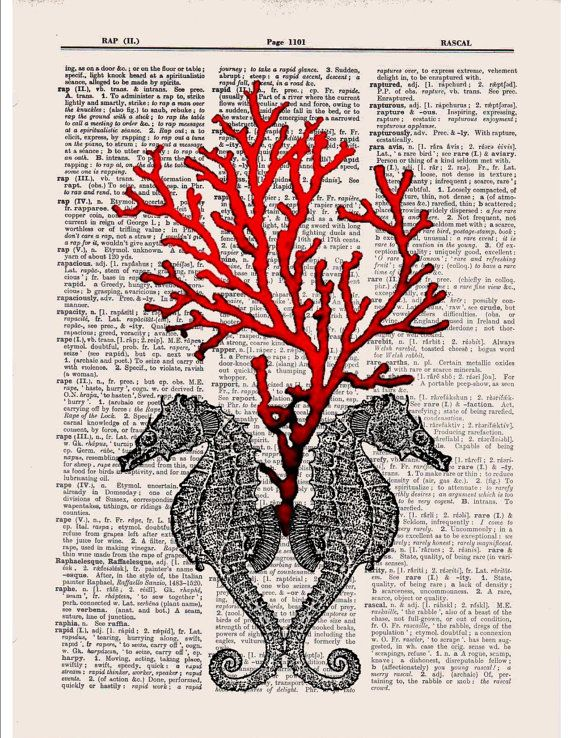 Dictionary page vintage art Seahorses and Red coral printed onto old dictionary book page
